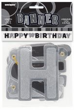 Black Glitz Hinged 'Happy Birthday' Banner